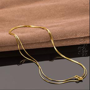 彩银黄金项链女 纯银正品日韩锁骨链镀黄金18k彩金百搭项链不掉色