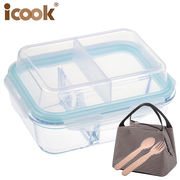 Microwave lunch box lunch box male compartment glass bowl storage box office worker insulation lunch box female heating sealed bowl
