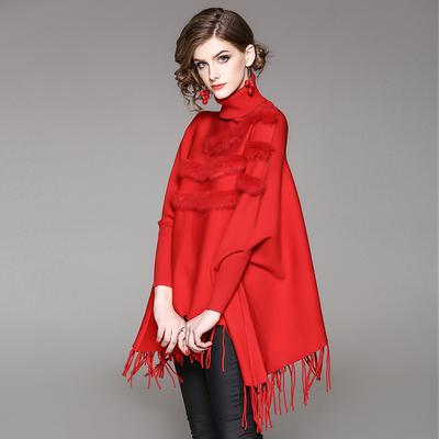 流苏披肩斗篷型套头外套女秋冬蝙蝠袖高领毛衣宽松针织衫百搭外穿
