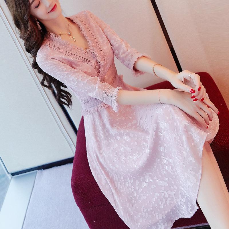 七分袖性感连衣裙