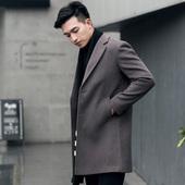 男装 英伦秋冬装新款风衣外套 韩版翻领修身中长款羊毛呢子大衣厚