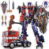 Wei will black apple inspector war damage version flat head deformation toy King Kong Optimus op column alloy version car people compartment