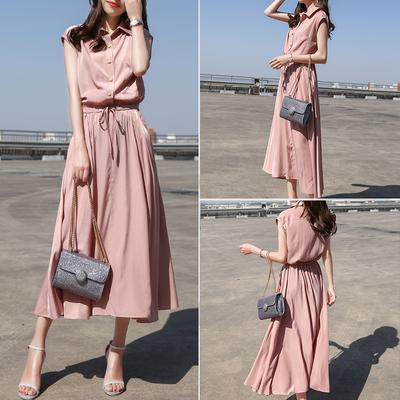 连衣裙女2018夏装时尚新款铜氨丝系带显瘦过膝中长裙气质衬衫裙子