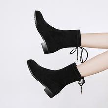 秋冬袜子靴女短靴瘦腿平底弹力靴百搭粗跟低跟中筒马丁靴单靴大码