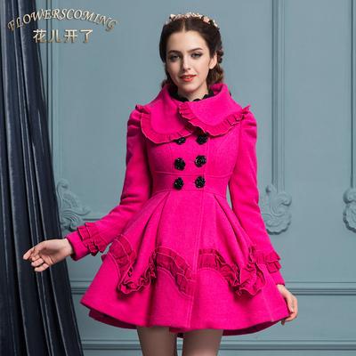 花儿开了冬季修身毛领双排扣羊毛毛呢大衣连衣裙长袖毛呢外套女