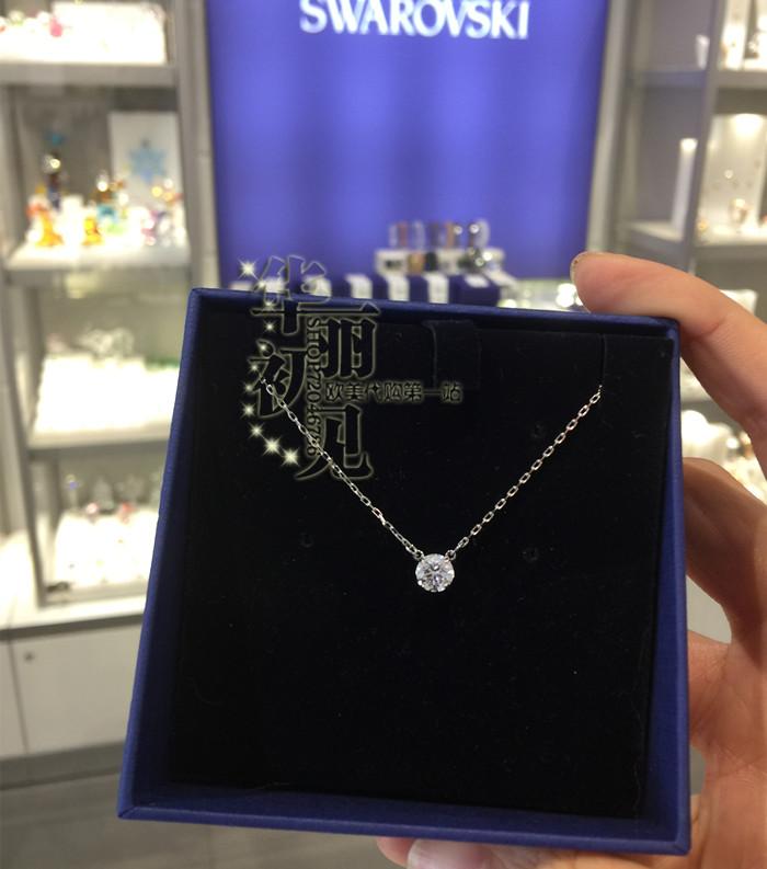 国内现货  施华洛世奇 银色小圆点单钻水晶项链锁骨链 5408442