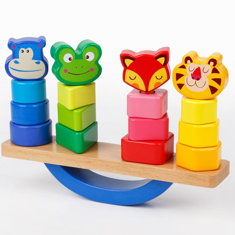 儿童木制早教益智玩具 动物形状配对叠叠乐1-3岁以下男女孩礼物