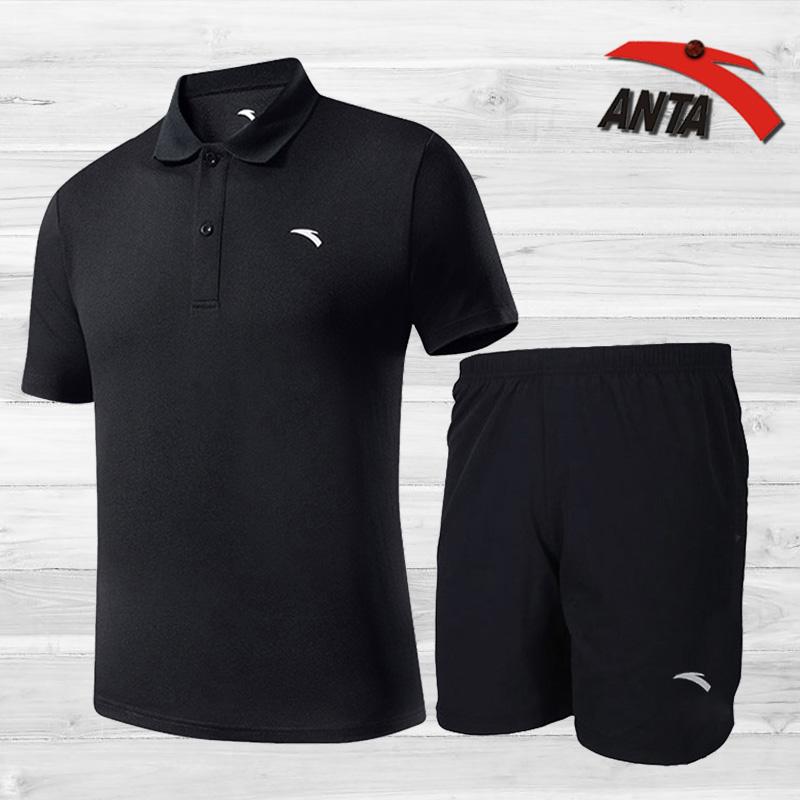 安踏运动套装男夏季宽松透气速干跑步运动裤五分裤 体恤短袖t恤男