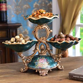美式树脂三头干果盘欧式创意高档水果盘客厅茶几家居软装饰品摆件