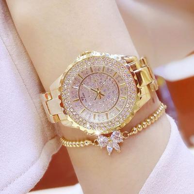 正品闪亮新款满天星手表女奢华水钻表满钻手表钻石手表时装表防水是什么档次