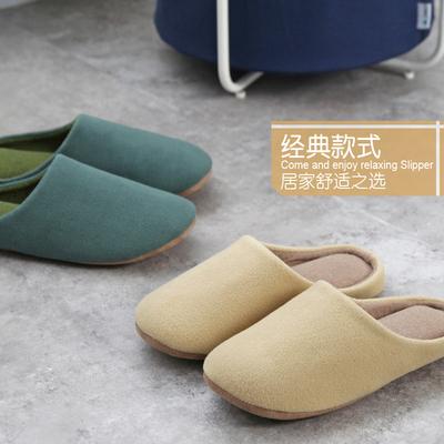 日式简约纯色木地板拖鞋 男女冬季卧室布软底静音保暖室内棉拖鞋