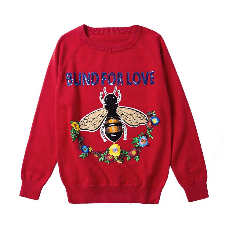 红色蜜蜂刺绣亮片字母宽松毛衣百搭上衣 针织衫 17秋冬G家赵薇同款