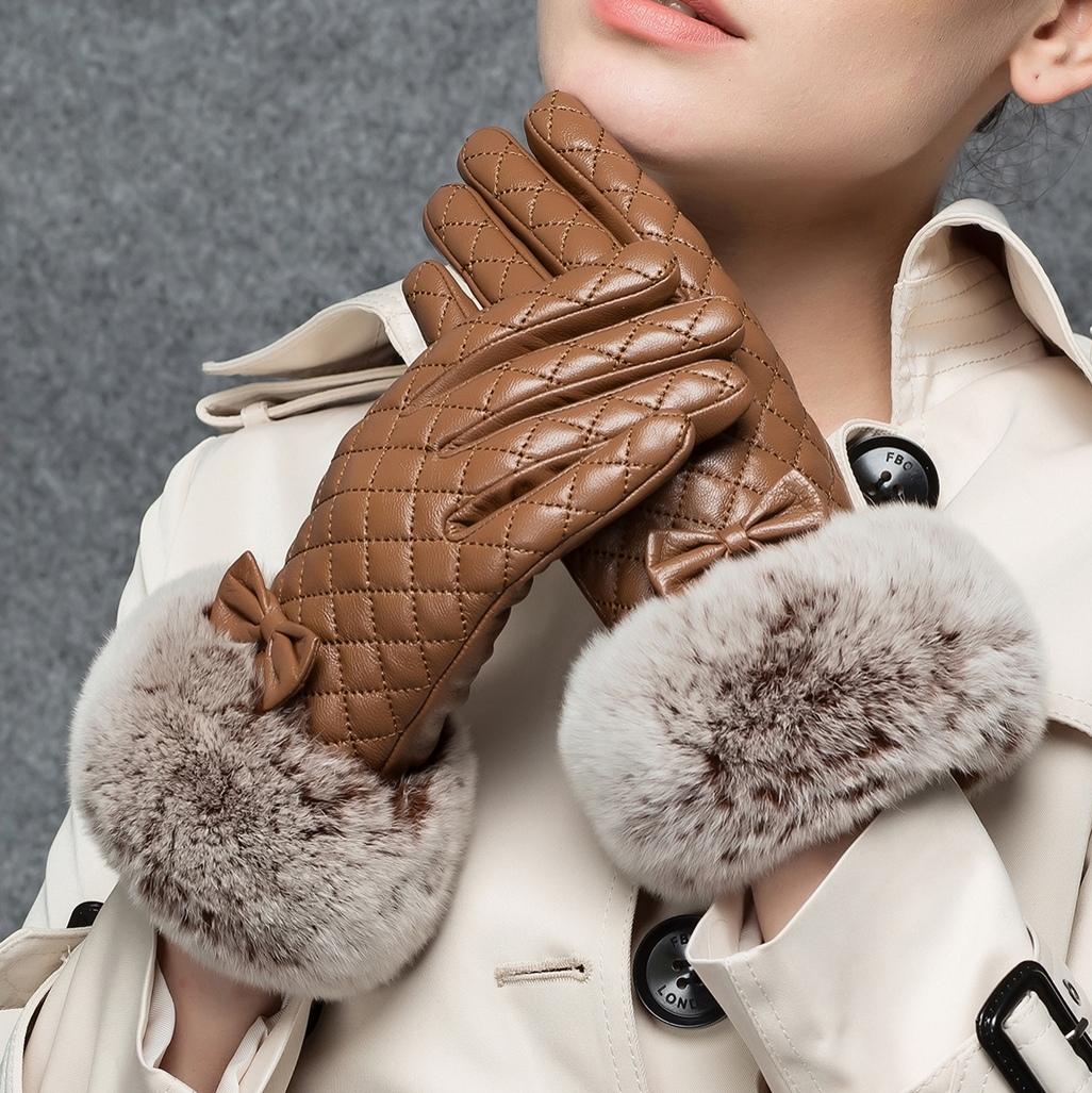 方格保暖手套