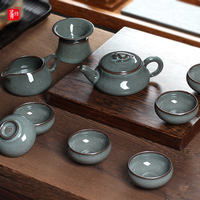 Longquan celadon set of high-grade Kung Fu tea set handmade kiln iron tire ice crack teapot cup set household ceramic