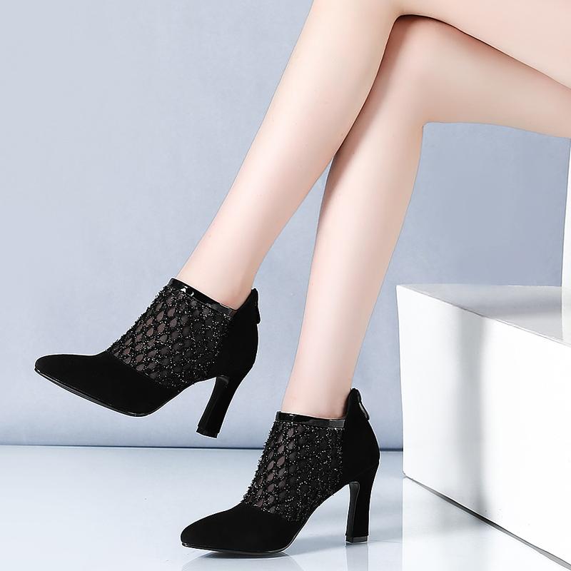 尖头短踝靴