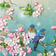 Baoyou genuine silk ribbon embroidery new type of heart-to-heart honey language 5D printing three-dimensional embroidery non-cross stitch living room hanging picture