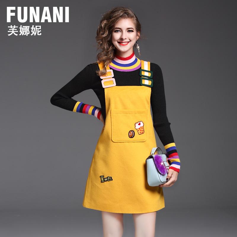 黄色秋冬连衣裙