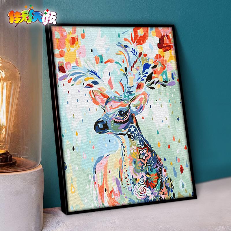 动漫物数字油颜diy客厅手绘油画填色装饰画