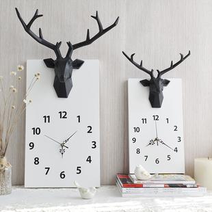 鹿头挂钟北欧简约创意静音时钟客厅卧室墙面装饰挂表实木壁挂钟表