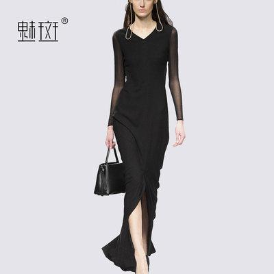 魅斑名媛气质透视长袖V领黑色连衣裙修身显瘦大裙摆开叉长裙