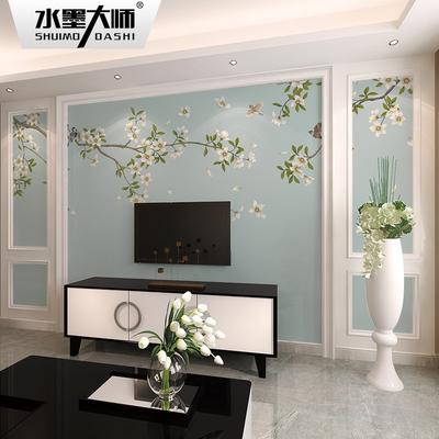 电视背景墙壁纸新中式客厅卧室影视墙美式墙纸无纺布定制壁画墙布双十二
