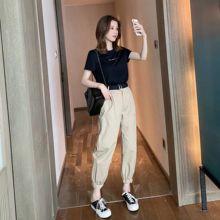 两件套女休闲时尚 束脚哈伦裤 女神范套装 字母短袖 2019夏季新款 T恤图片