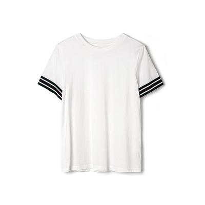 9魅高端KS0C0002舒适透气袖口撞色织带拼接弹力T恤女2019夏
