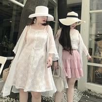 自制大码女胖mm新款长短款吊带裙遮肚子姐妹装修身显瘦蕾丝连衣裙