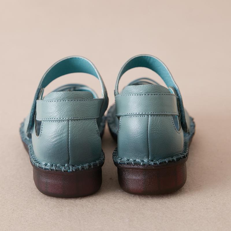 真皮软底孕妇妈妈凉鞋女夏洞洞鞋舒适平底包头休闲防滑中老年女鞋