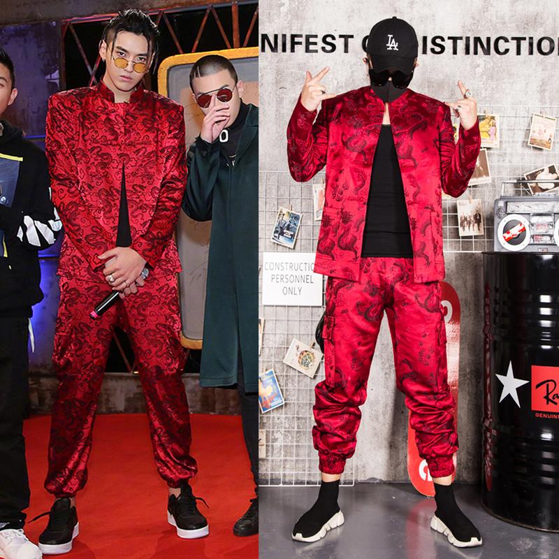 DS演出服中国风红色刺绣套装 MZ男歌手DJ中国有嘻哈吴亦凡同款