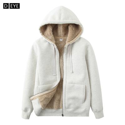 冬季新款女式仿羊羔绒卫衣加绒加厚纯色长袖连帽拉链纯棉开衫外套