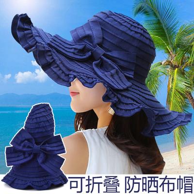 遮阳帽子女夏季出游防晒可折叠百搭蝴蝶结布帽防紫外线大檐太阳帽