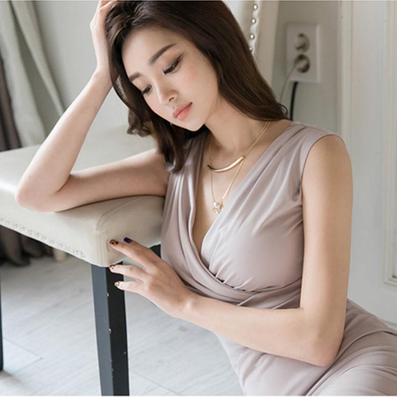 v领无袖包裙