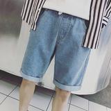 方少男装 18夏季男士水洗牛仔短裤韩版直筒卷边百搭学生潮五分裤