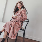 Coral velvet pajamas autumn and winter thick warm long section of the month after delivery pregnant women breastfeeding breastfeeding skirt flannel robe