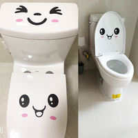 Removable waterproof bathroom bathroom stickers creative refrigerator stickers cute expression smiley toilet stickers