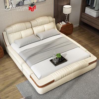 新款现代 双人床 真皮床 皮艺床  实木婚床 1.8米 小户型 皮床品牌旗舰店