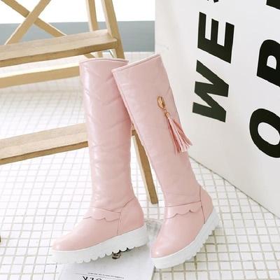 新款女童靴子冬季儿童过膝长靴高筒雪地皮靴小女孩高跟公主大棉鞋