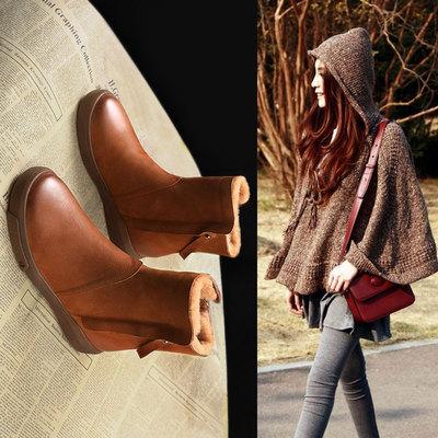 雪地靴女2019新款皮毛一体鞋中筒加绒加厚棉鞋冬短筒短靴马丁靴子