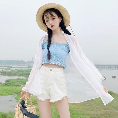 2019新款夏季女装韩版蕾丝雪纺衫上衣开衫防晒衣洋气百搭学生吊带