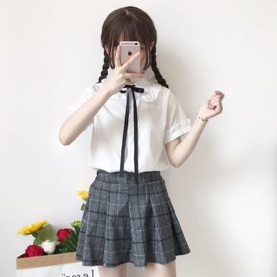 2018夏季新款女装韩版女装韩版宽松新款小清新衬衣短袖衬衫上衣萌