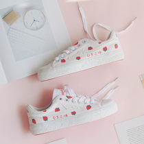 Japanese strawberry small fresh pink back shoe upgrade version Xiangyun girl cute shredded flower hand-painted canvas shoes