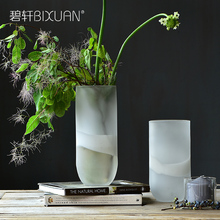 Bixuan white frosted transparent glass vase, dining table, living room flower display, home decoration items.