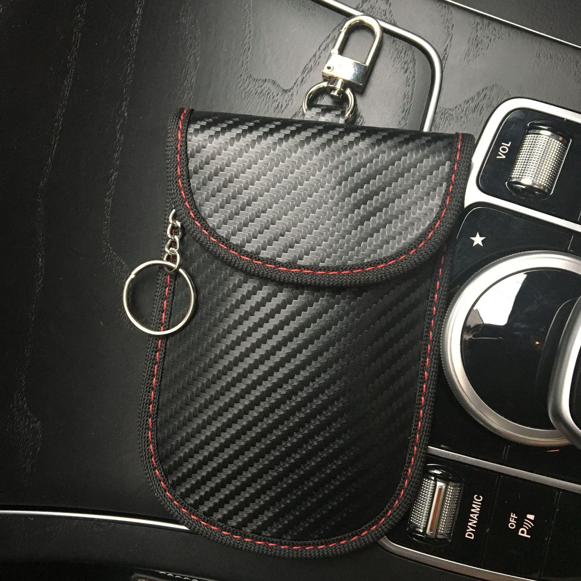 新款碳纤维RFID汽车遥控屏蔽信号定位钥匙包防盗防消磁防扫描