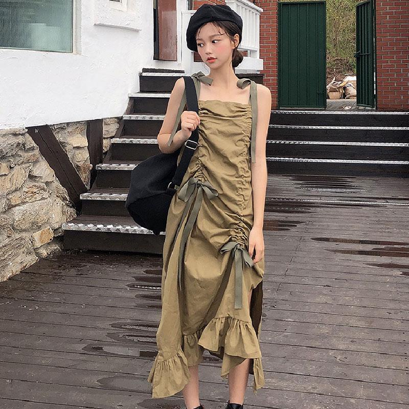韩国chuu官网正品夏季新款混搭褶皱蝴蝶结绑带无袖连衣裙