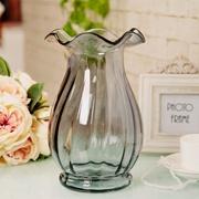 博洛克玻璃花瓶 欧式花器 台面客厅家居饰品 干花富贵竹花瓶 包邮