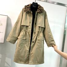 毛领夹棉风衣女中长款冬季宽松抽绳收腰豹纹拼接复古气质韩版外套