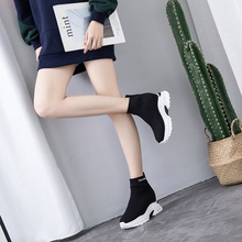 Increase the Tide of High-Up Socks, Shoes, Women's Thick-soled Muffin Cakes, Heels, Elastic Knitted Boots and High-heeled Single Shoes in the Spring of 2019
