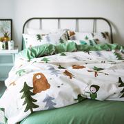 纯棉卡通儿童四件套小清新可爱床上用品1.5m床单1.8床笠简约3件套