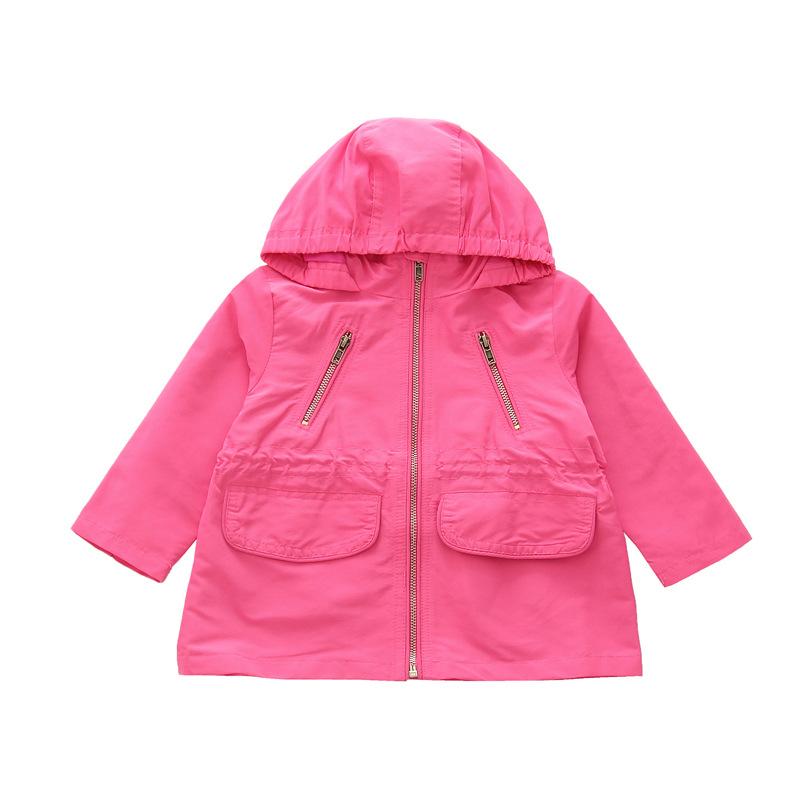 女童童装2019春款儿童外套时尚收腰连帽防风防走失皮肤粉色风衣